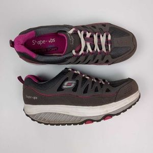 Skechers Shape Ups gray pink sneakers shoes